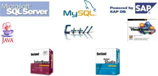 SQL Server, SAP DB, C++, MySQL, Java, Visual Basic, Interbase, Delphi